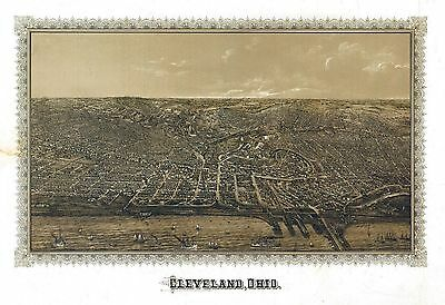 oh18 Antique old panoramic map OHIO OH genealogy family history CLEVELAND 1887