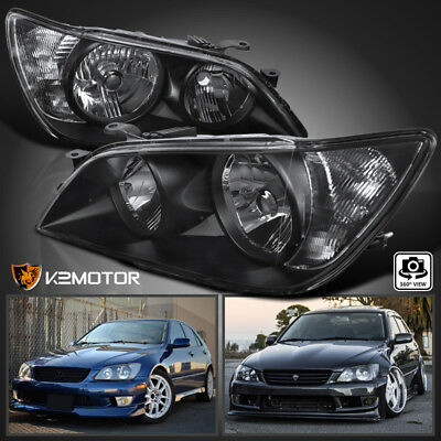 2001-2005 Lexus IS300 Black Replacement Headlights Head Lamps Left+Right
