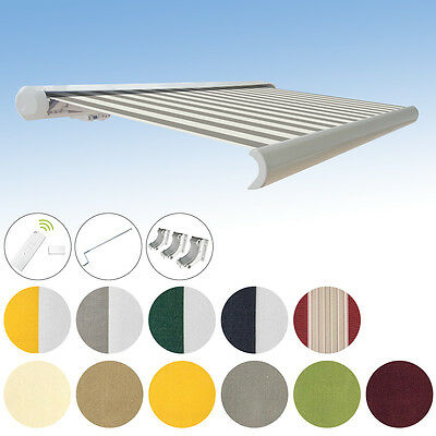 Full Cassette awning electric Cassette awning 4,5x3m Rc/Motor/PA acrylic
