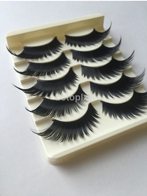 Exaggerated Makeup Handmade Stage Natural Cross False Eyelashes 5 Pairs