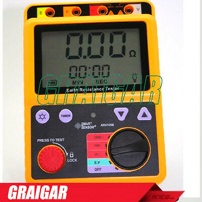 Smart Sensor AR4105B Digital Earth Ground Resistance Tester Meter Range 0-2000 O