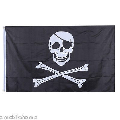 Large Skull Pirates Flag Jolly Roger Hanging Banner with Grommet - 90 x 150cm