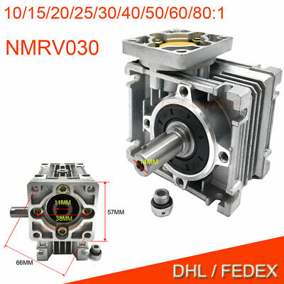 NEMA23 Flange Worm Gearbox Speed Reducer 10:1 15:1 30:1 for Stepper Motor CNC