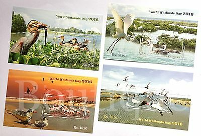 Sri Lanka Birds World Wetlands Day Stamps Miniature Sheet 04 Stamps in 04 Sheets