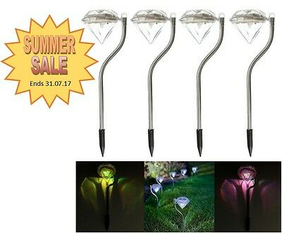 4x Solar LED Lights Garden Path Automatic Colour Changing Wireless Outdoor Lamps