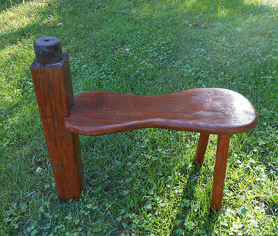 Antique Scythe Sharpen Stool Milk Footstool Wooden European Rare Traditional