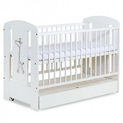 BABY COT GIRAFFE WHITE WITH DRAWER MANY MATTRESS TYPES TO CHOOSE 120 x 60 cm