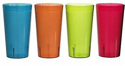 12 Pc 32 Oz Reusable Stackable Plastic Beverage Tumbler Cup Glass BPA Free
