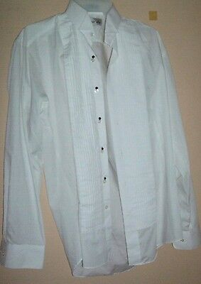Chaplin White Wing Collar Formal Tuxedo Shirt - Size S 32-33