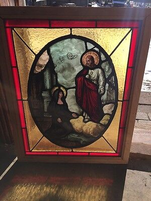Sg 1266 Antique Painted And Fired Jesus With Angels Window 20 X 20 5H