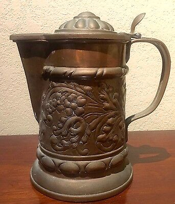 Heavy Antique Copper Plated Tin Coffee Pot with Floral Design