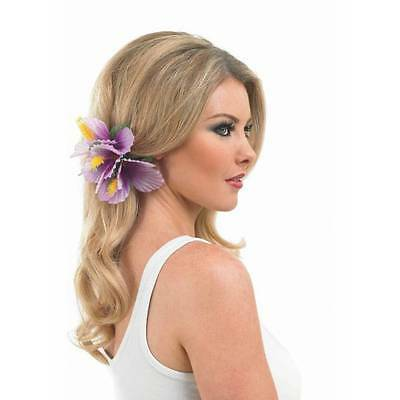 Purple Hawaiian Flower Hair Clip Ladies Laua Hula Beach Fancy Dress