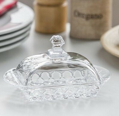 Good Quality Glass Transparent Butter Dish With Lid and Handle Karo 10cm