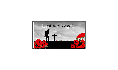 """Lest We Forget (Remembrance Day) 18"""" x 12"""" Sleeved flag"""
