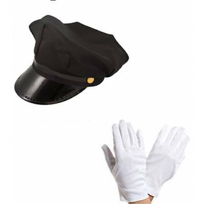 Chauffeur Cap Limo Wedding Driver HAT and WHITE GLOVES Fancy Dress Kit