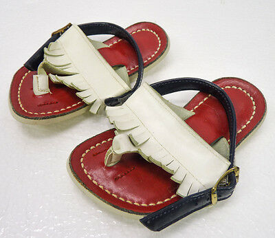 NOS Vintage Baby Sandals Strappy Thong Slingback Fringe Red/White/Blue Size 3