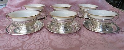 Set  6 Gorham Sterling Silver w Lenox Liners Bouillon Soup Holders w Underplates
