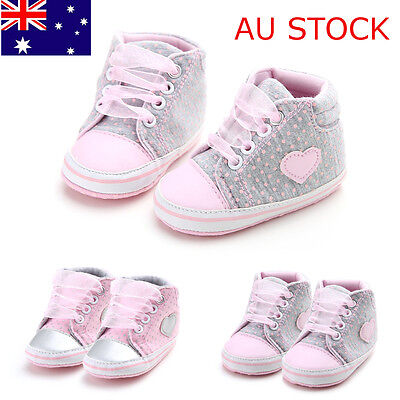 Soft Sole Leather Shoes Baby Girls Infant Toddler Laces Crib Newborn Sneakers