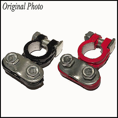 2x Screw Connection Aluminum Car Battery Terminal Disconnect Switch Clamps
