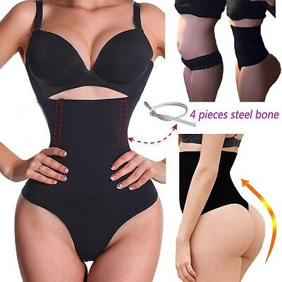 Women Bodysuit High Waist Cincher Girdle Tummy Control Thong Panty Body Shaper