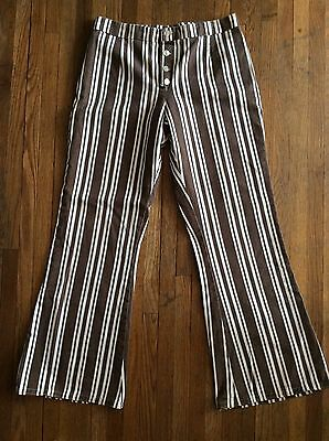 Vintage 60s 70s Womens Flare High waist Striped Hippie Pants Cotton 29 waist