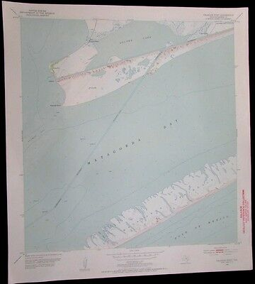 Palacios Point Texas Oyster Lake Gulf of Mexico vintage 1953 old USGS Topo chart