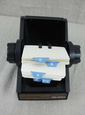 Rolodex Black Metal Rotary File Model 1753 with Index Guide and Blank Cards