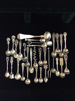 Antique Sterling Silver 31 Pcs Lot Open Salt Cellar Spoons Estate Collection