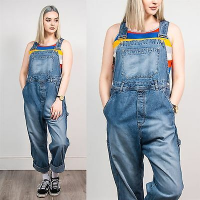 Womens Vintage Maternity Long Length Denim Dungarees Jumpsuit Overalls 90's 14