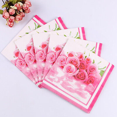 20pcs 33*33 Pink Rose Wedding Paper Napkins Wedding Party Decoration Supplies