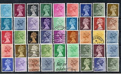Selection of GB Definitives 63 Stamps- see both scans! Mostly used but a few MNH