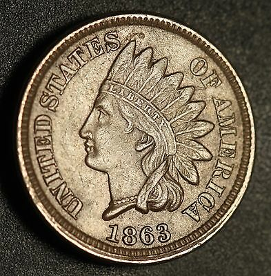 1863 INDIAN HEAD CENT -With LIBERTY & Near 4 DIAMONDS - AU UNC