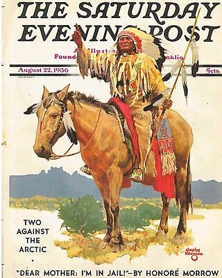 The Saturday Evening Post August 22 1936 Charles Hargens Vintage Birthday Gift