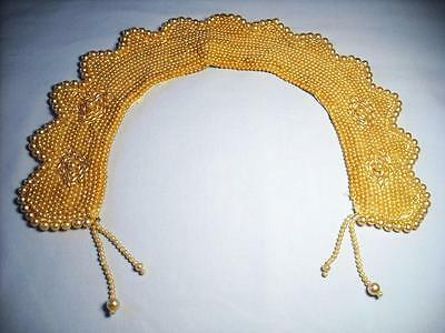 Vintage Beaded Cream Faux Pearls Collar Satin Lining - Gorgeous        ...Lot 16