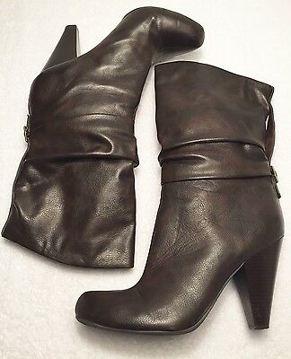 Women's Size 10 M ANA Brown Mid Calf Slouch Style Heeled Fashion Boots