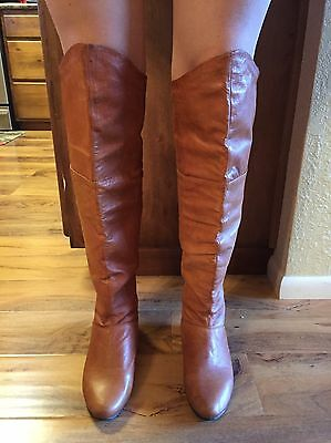 Chinese Laundry Turbo Women US 8.5 Tan Leather Over the Knee Boots