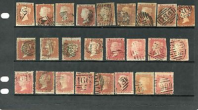 Selection of 25 Queen Victoria 1d Reds. No plate numbers.