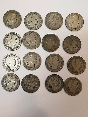 barber quarter silver coin lot of 16