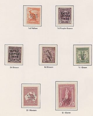 (Q19-199)1946AU 7set of stamps BCOF Japan MH& MUH 5/-(has tiny amount of toning)