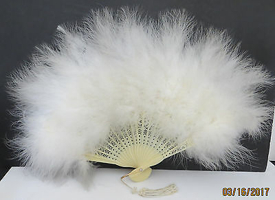 White, Off White  Feather Fan * Folding * Plastic * Chic * Costume