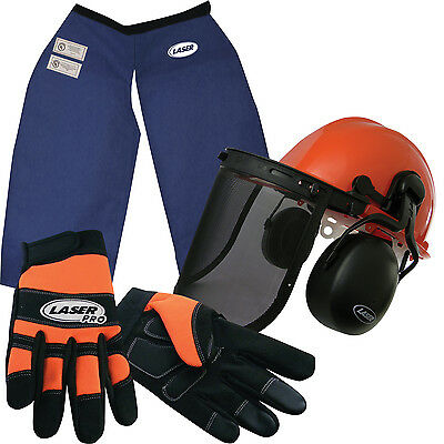 Chainsaw Safety Chaps Hard Hat Helmet W/Screen/muffsGloves(L) Kevlar Woodcutters