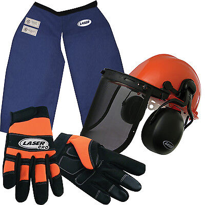 Chainsaw Safety Chaps, Hard Hat w/ Screen/Muffs & Gloves (XL) Made with Kevlar