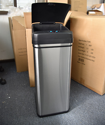 New 13 Gallons Automatic Trash Can Touchless Sensor Stainless Steel  Kitchen