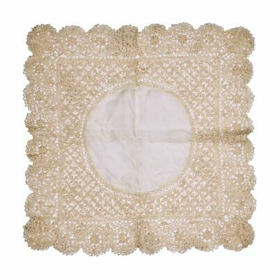 Antique Maltese Silk Lace Wedding Handkerchief Fine & Gorgeous Hankie