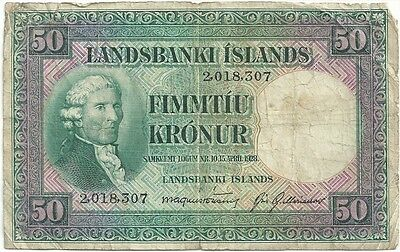 Iceland - 1928 Fifty (50) Kronur