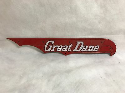 Plastic Great Dane Sign Looks To Be From A Bike. On The Back It Says Right