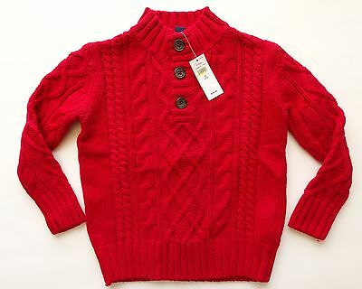New Gap Kids long sleeve chunky knit sweater boys size extra small XS 4 5 red