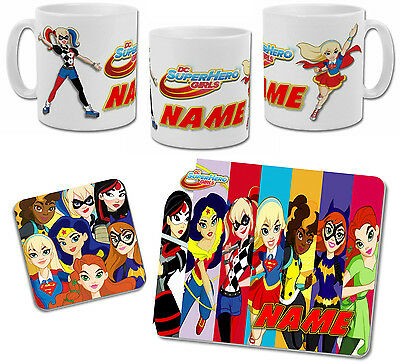 Personalised DC Superhero Girls Mug with Coaster & Placemat Options