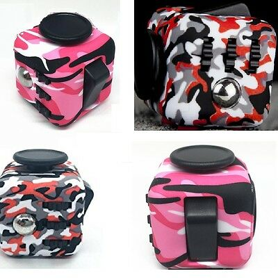 2017 UK Fun Fidget 6 Sided Cube Adult Anxiety Stress Relief Cubes Pink Camo Red