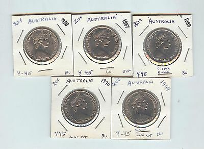 Australia 1966, 1967, 1968, 1969, & 1970 20 cent lot, uncirculated REDUCED